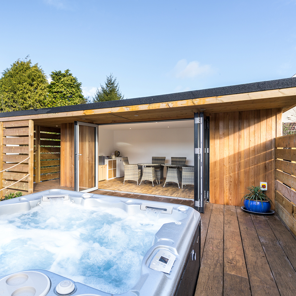 Hydropool Bristol offer self-cleaning hot tubs and swimspas, our additional offering of our garden rooms also help you to extend your home and maximise garden space.