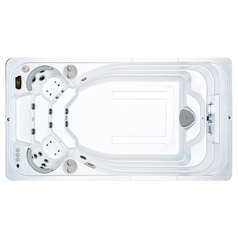 Hydropool-Aquatrainer-14fx self-cleaning swimspa. Available from our Hydropool Bristol showroom, this model also includes a hot tub.