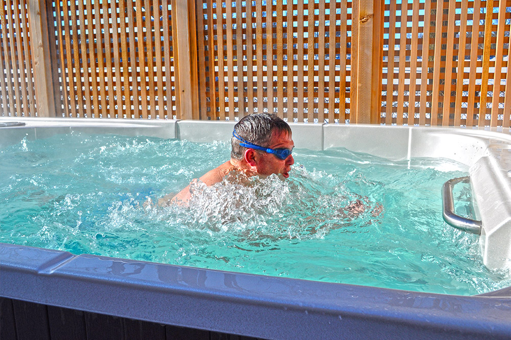 Hydropool self-cleaning swimspa. This model is available from our Bristol showroom.