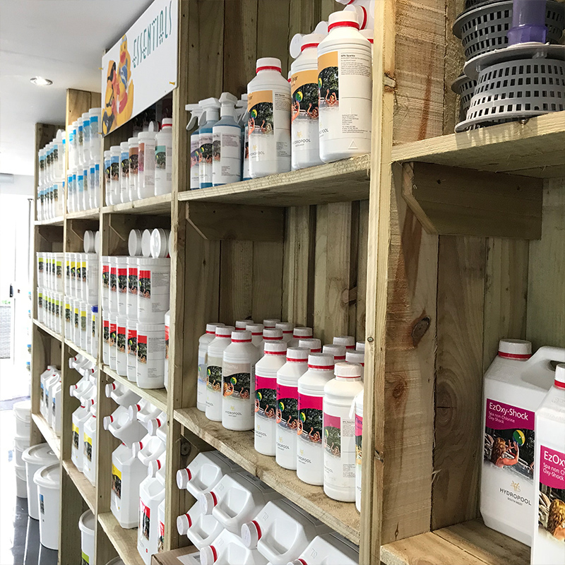 We keep a range of chemicals for your hot tub at our Bristol showroom.