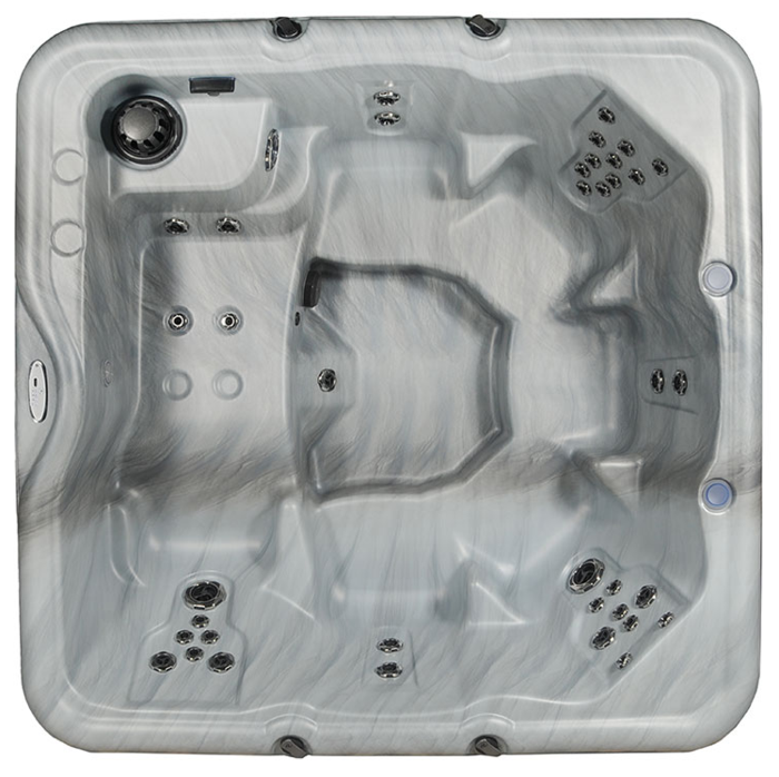 Top side view of Cove encore hot tub displaying seating and jet configuration